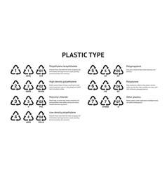 recycle plastic code set vector image