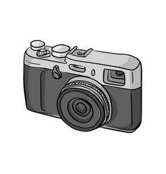 Retro compact camera sketch doodle vector