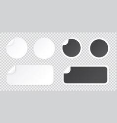 round sticker template with peel corner black vector image