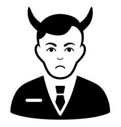 Sad satan black icon vector
