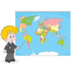 Schoolboy at a World map vector