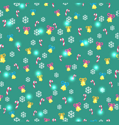 Seamless green pattern with christmas decorations vector