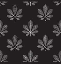 seamless pattern chestnut leaves white on vector image