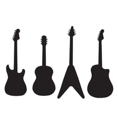 Set of acoustic guitars and electric guitars vector
