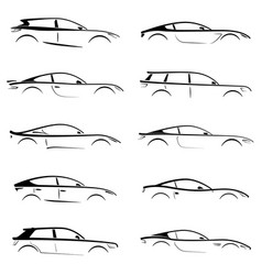 Set of black silhouettes concept cars on white vector