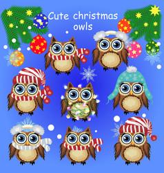 set of cute cartoon christmas owls vector image