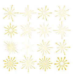 set of golden sunburst style isolated vector image