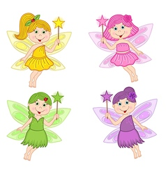 Set of isolated color fairies vector