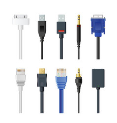 set of socket cable plug and vector image
