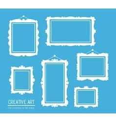set of white rectangular frames on blue b vector image