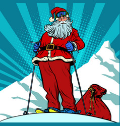 skier in mountains santa claus character merry vector image