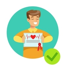 Smiling Guy Holding Health Insurance Contract vector