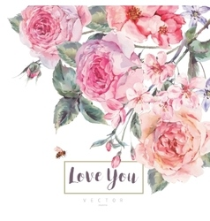 spring vintage floral greeting card vector image