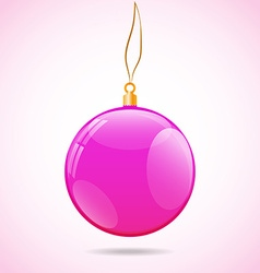 Square with pink shiny christmas ball vector image