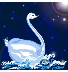Swan floats on the waves vector