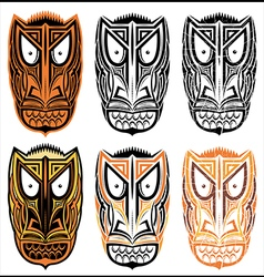Tribal indian totem scary halloween face masks vector