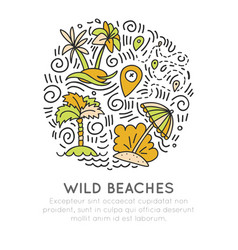 Tropical wild beach - icon hand draw concept in vector