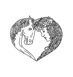 Unicorn and maiden heart drawing vector