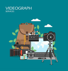 Videographer services flat style design vector