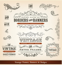 Vintage calligraphic frames banners and badges vector