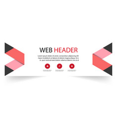 web header abstract red black ribbon background ve vector image
