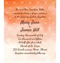 Wedding Invitation with watercolor background vector image