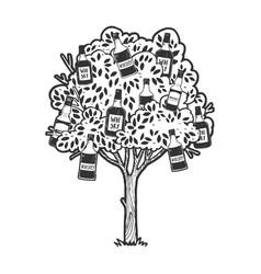 whiskey bottles on tree sketch engraving vector image
