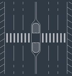 White crosswalk through road view from top vector