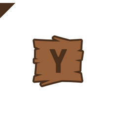 wooden alphabet blocks with letter y in wood vector image