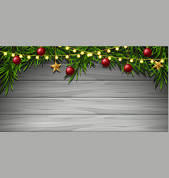 Wooden wall with christmas ornaments vector
