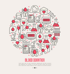 blood donation concept in circle vector image vector image