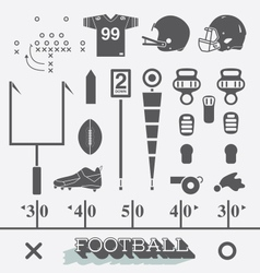 Football Equipment Icons and Symbols vector image