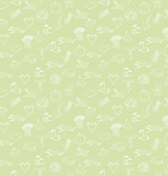 Kitchen seamless pattern with white vegetables on vector image vector image