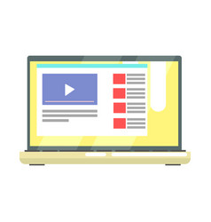 laptop with internet video on the screen internet vector image