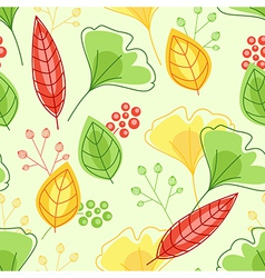 pattern with green and yellow leaves vector image