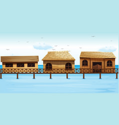 three vacation houses on water vector image