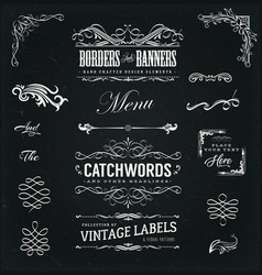 calligraphic frames and banners on chalkboard vector image vector image