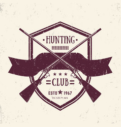 hunting club vintage logo with crossed old rifles vector image vector image