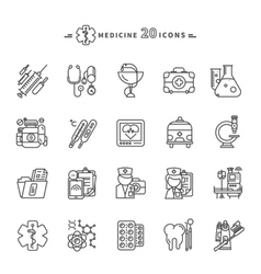 Set of Outline Medicine Icons on White Background vector image vector image