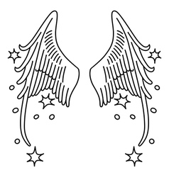 Starred angel wings set linear silhouette vector image vector image