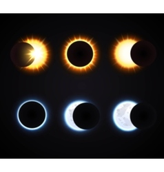 Sun And Moon Eclipse Icons Set vector image