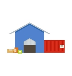 Warehouse building exterior view with two depot vector