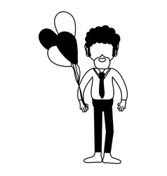 Contour man with beard and balloons in the hand vector