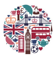 icons on a theme of england vector image vector image
