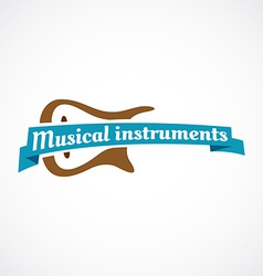 Musical logo Guitar silhouette with ribbon and vector image vector image