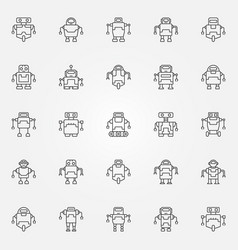 robot icons set robots concept symbols or vector image