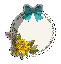 Sticker circular border with floral bouquet and vector