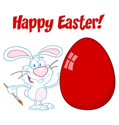 White Happy Easter Bunny Painting A Red Egg vector image vector image