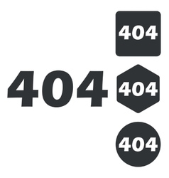 404 icon set monochrome vector image