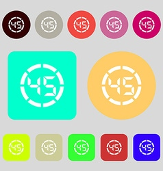 45 second stopwatch icon sign 12 colored buttons vector image